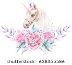 watercolor floral frame with... | Shutterstock . vector #638355586