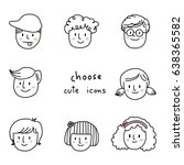 cute collection of boy and girl ... | Shutterstock .eps vector #638365582