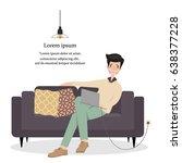 business man sitting on sofa... | Shutterstock .eps vector #638377228