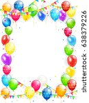 birthday theme  frame of flying ... | Shutterstock . vector #638379226