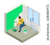 isometric paintroller painting... | Shutterstock .eps vector #638380972