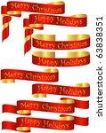 raster set of red christmas... | Shutterstock . vector #63838351