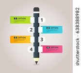 pencil infographic with 4... | Shutterstock .eps vector #638388982