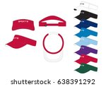 visor cap    front  back and... | Shutterstock .eps vector #638391292