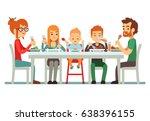 happy big family eating dinner... | Shutterstock .eps vector #638396155