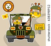 giraffe and tiger the soldiers... | Shutterstock .eps vector #638398912