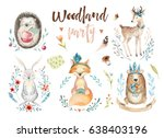 Stock photo cute baby fox deer animal nursery rabbit and bear isolated illustration for children watercolor 638403196