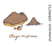 chaga mushroom powder  popular... | Shutterstock .eps vector #638406712