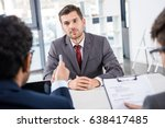 attentive businessman listening ... | Shutterstock . vector #638417485