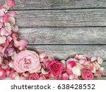 shabby roses wallpaper. roses...   Shutterstock . vector #638428552