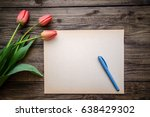 three red tulips with green... | Shutterstock . vector #638429302