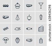vector illustration of 16 dish... | Shutterstock .eps vector #638436298