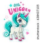 cute cartoon unicorn patch.... | Shutterstock .eps vector #638437105