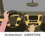 human hands driving a car | Shutterstock .eps vector #638447296