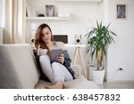 girl drinking morning coffee... | Shutterstock . vector #638457832