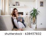 girl drinking morning coffee... | Shutterstock . vector #638457832