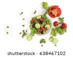 vegetable salad on a plate on a ... | Shutterstock . vector #638467102