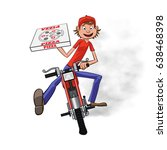 boy working the pizza delivery. ... | Shutterstock .eps vector #638468398