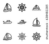 yacht icons set. set of 9 yacht ... | Shutterstock .eps vector #638482285