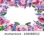 Stock photo lavender flowers and rose flower frame in a watercolor style isolated 638488012