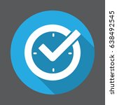 check mark on clock  real time... | Shutterstock .eps vector #638492545