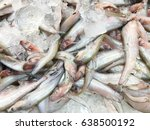 fresh fish on ice decorated for ... | Shutterstock . vector #638500192