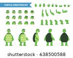 Stock vector cartoon turtle creation set various gestures emotions diverse poses views create your own pose 638500588