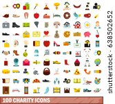 100 charity icons set in flat... | Shutterstock .eps vector #638502652