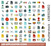 100 application icons set in... | Shutterstock .eps vector #638502802