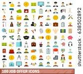 100 job offer icons set in flat ... | Shutterstock .eps vector #638502892