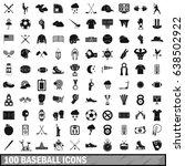 100 baseball icons set in... | Shutterstock .eps vector #638502922