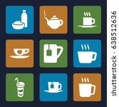 tea icons set. set of 9 tea... | Shutterstock .eps vector #638512636