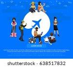 airplane around the world flat... | Shutterstock .eps vector #638517832