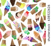 ice cream cone seamless pattern.... | Shutterstock .eps vector #638522626