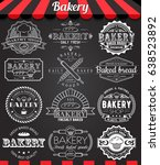 set of vintage retro bakery... | Shutterstock . vector #638523892