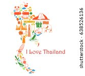 thailand map. set color icons... | Shutterstock . vector #638526136