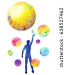 human catch moon power ... | Shutterstock . vector #638527462