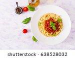 pasta fettuccine bolognese with ... | Shutterstock . vector #638528032