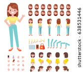 front  side  back view animated ... | Shutterstock .eps vector #638531446