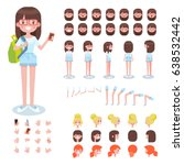 front  side  back view animated ... | Shutterstock .eps vector #638532442