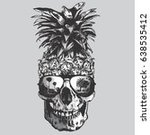 pineapple  skull illustration ... | Shutterstock .eps vector #638535412