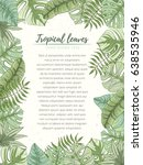hand drawn tropical palm leaves ... | Shutterstock .eps vector #638535946