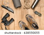 traveler set on wooden... | Shutterstock . vector #638550055