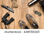 traveler set on wooden... | Shutterstock . vector #638550265