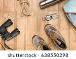 traveler set on wooden... | Shutterstock . vector #638550298