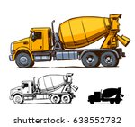Concrete Mixer Truck Side View