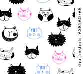 hand drawn graphic colored cats.... | Shutterstock .eps vector #638560768