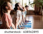 fitness  yoga and healthy... | Shutterstock . vector #638562895
