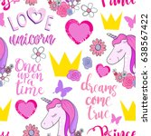 cute princess seamless pattern... | Shutterstock .eps vector #638567422