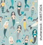 mermaid seamless pattern... | Shutterstock .eps vector #638571826